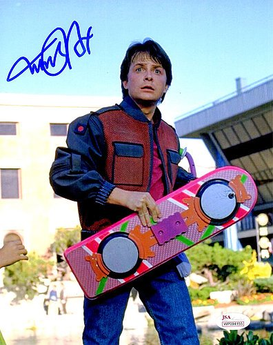 Michael J Fox Signed Back To The Future Holding Hover Board 8x10 Photograph - Authentic Autograph