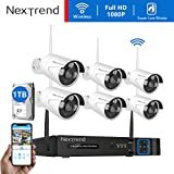 [Faster Video Transfer] Wireless Security Camera System, NexTrend 8CH 1080P WiFi NVR Home Security System with 6pcs Outdoor IP Security Camera, 65ft Night Vision, 1TB Hard Drive Pre-Installed