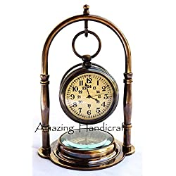 Maritime Solid Brass Desk Clock With Compass Home decor Nautical Pocket Watch