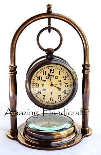 (Maritime Solid Brass Desk Clock With Compass Home decor Nautical Pocket Watch)