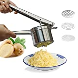 SHU UFANRO Professional Stainless Steel Potato Ricer Masher Heavy Duty Food Presser for Potatoes Purple Potato Pumpkin Lemon Fruit Juice with 3 Pieces Replaceable Ricing Discs for Coarse & Fine Ricing
