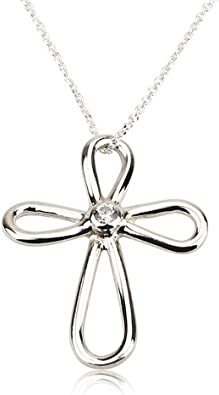 0.05cttw, IJ//I2-I3 925 Silver Diamond Swirl Infinity Religious Cross Pendant Necklace 18
