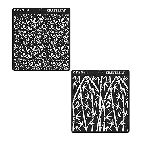 CrafTreat Stencil - Foliage1 & Bamboo Forest (2 pcs) | Reusable Painting Template for Home Decor, Crafting, DIY Albums, Scrapbook and Printing on Paper, Floor, Wall, Tile, Fabric, Wood - Bamboo Stencil