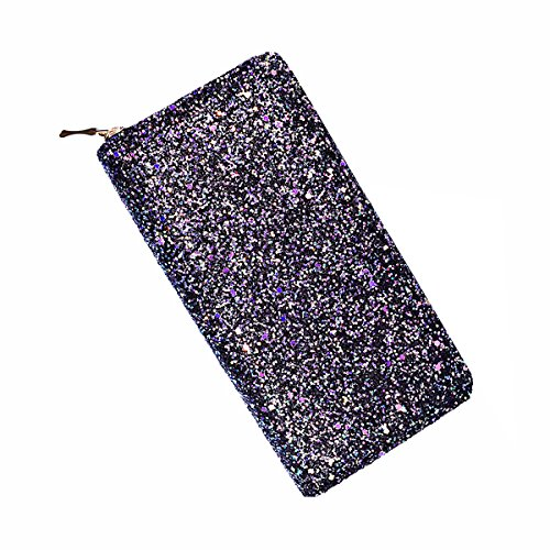 Laimi Duo Bling Black Glitter Clutch Shiny Handbag RFID Blocking Leather Wallet Multi Card Organizer for women by Laimi Duo