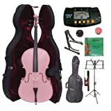 Merano 4/4 Full Size Pink Cello with Hard Case, Bag and Bow+2 Sets of Strings+Cello Stand+Black Music Stand+Metro Tuner+Mute+Rosin