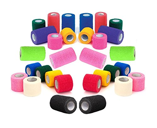 "51yHsRnQk L - 4"" Vet Tape Wrap Bulk, Self Adherent Wrap Tape, Self Adhering Stick Bandage, Self Grip Roll - Black, Blue, Brown, Fuchsia, Hunter Green, Neon Green, Neon Pink, Purple, Red, Teal, White, or Assorted Colors (4"" inches Wide x 15' Feet Long) - (6 Rolls, 12 Rolls, 18 Rolls, or 24 Rolls)"