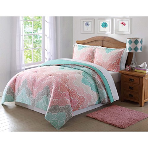 3 Piece Girls Chevron Comforter Full Queen Set, Pretty All Over Medallion Flower Mandala Motif Bedding, Beautiful Multi Floral Lace Horizontal Zigzag Themed, Turquoise Teal Green Coral Light Pink (Flower Turquoise Coral)