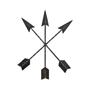 Wall Charmers 15 inch Cast Iron Arrow Wall Decor Set of 3 Native American Metal Arrows - Handmade Farmhouse Decor