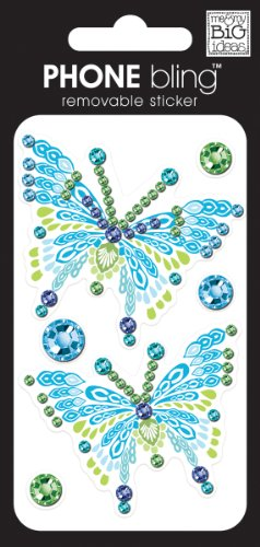 (me & my BIG ideas Phone Bling Removable Cell Phone Embellishment, Bliss, Blue Butterflies)