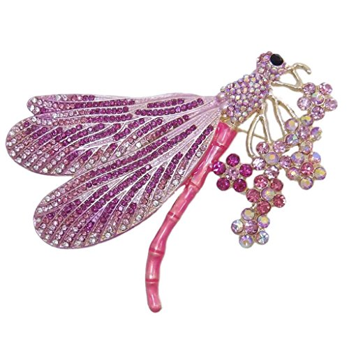EVER FAITH Womens Austrian Crystal Enamel Colorful Bouquet Insect Dragonfly Brooch