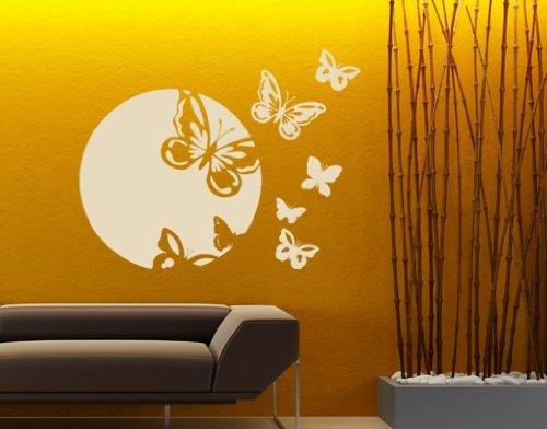 Spring Awakening Butterflies Wall Decal by Style & Apply - Wall Sticker, Vinyl Wall Art, Home Decor, Wall Mural - 2155 - 59in x 46in, Dark green