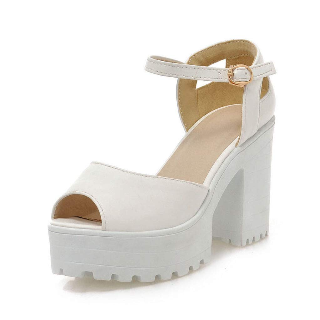 White JOYBI Women Sexy Peep Toe Sandals Comfy Slip On Summer Buckle Leather Thick Chunky Platform Heels Sandal