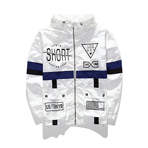 WEIPENG AITFINEISM Men's Fashion Lightweight Hoodie Zip-up Letter Windbreaker Jacket (X-Large, White) by AITFINEISM
