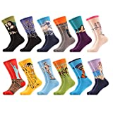 WeciBor Women's Funny Oil Painting Casual Combed Cotton Socks 12 Packs