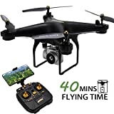 40MINS Flight Time Drone, JJRC H68 RC Drone with 720P HD Camera Live Video FPV Quadcopter with Headless Mode,Altitude Hold Helicopter with 2 Batteries(20mins + 20mins)-White