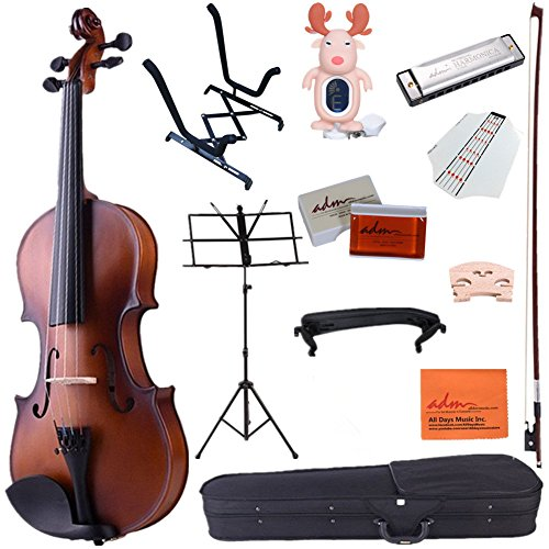 ADM 4/4 Full Size Handcrafted Solid Wood Student Acoustic Violin Starter Kits, Beginner Outfit with Violin Hard Case, Bow, Music Stand, Tuner, etc, Brown by ADM