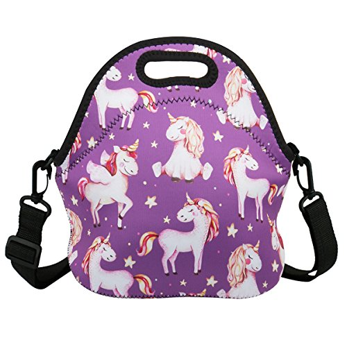 Violet Mist Insulated Neoprene Lunch Bag Tote with Detachable Adjustable ShoulderThermal Waterproof Cartoon Large Capacity Outdoor Picnic Lunch Box for Kids Teens Adults (Purple Unicorn) ()