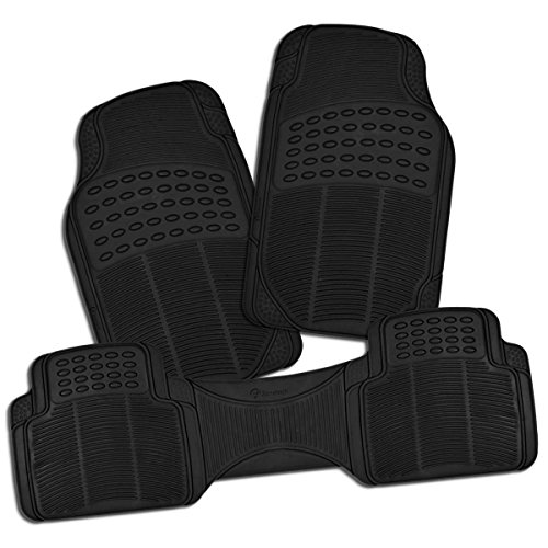 Zone Tech All Weather Rubber Semi Pattern Car Interior Floor Mats – 3-Piece Set Black Heavy Duty Car Interior Floor Mats