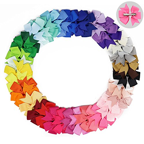 40pcs/lot 8.5x8cm (3.3X3.1 inch) Baby Girl Grosgrain Ribbon Boutique Hair Bows with clip For Teens Baby Girls Babies Toddlers (Color 4)