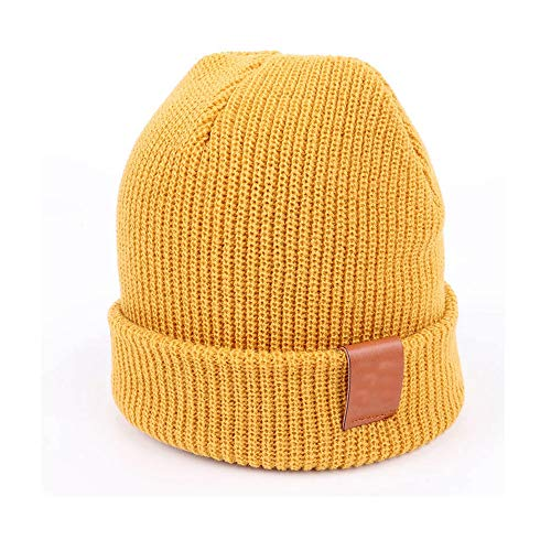 (MJ-Young Solid Color Knit Beanies Hat Parent-Child Wear Winter Warm Soft Cap Man Woman Baby Yellow Adult)