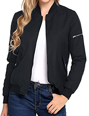 Soteer Women's Zipper Quilted Side Pockets with Press Stud Lightweight Bomber Jacket