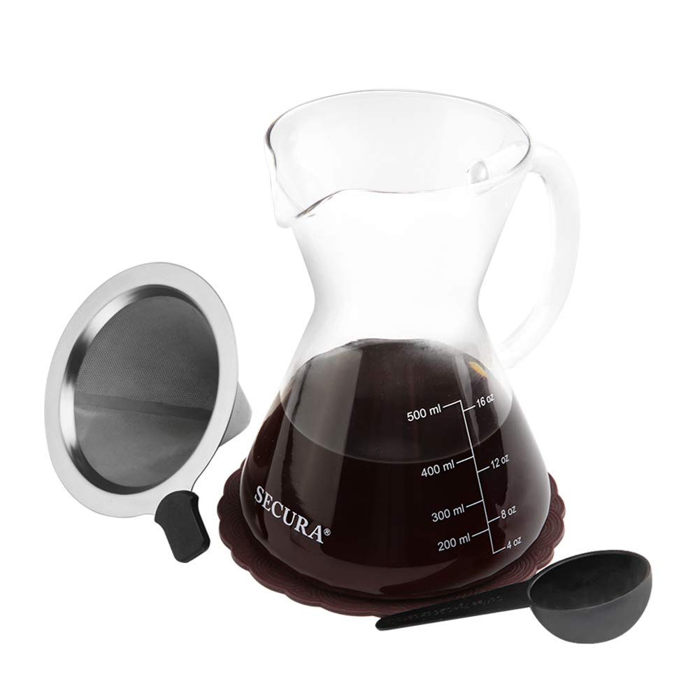 Secura Pour Over Coffee Maker Set Coffee Dripper Pot Coffeemaker 17 oz Stainless Steel Filter and Glass Carafe SPO-17GS
