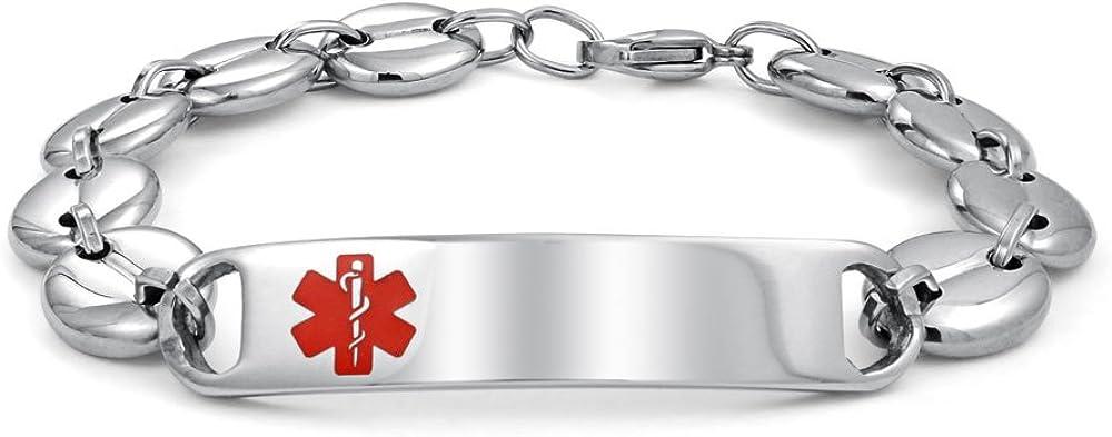 Bling Jewelry Médicos Identificación Médica Brazalete Alerta Médica Personalizado Mariner Cadena para Hombre Acero Tono Plata