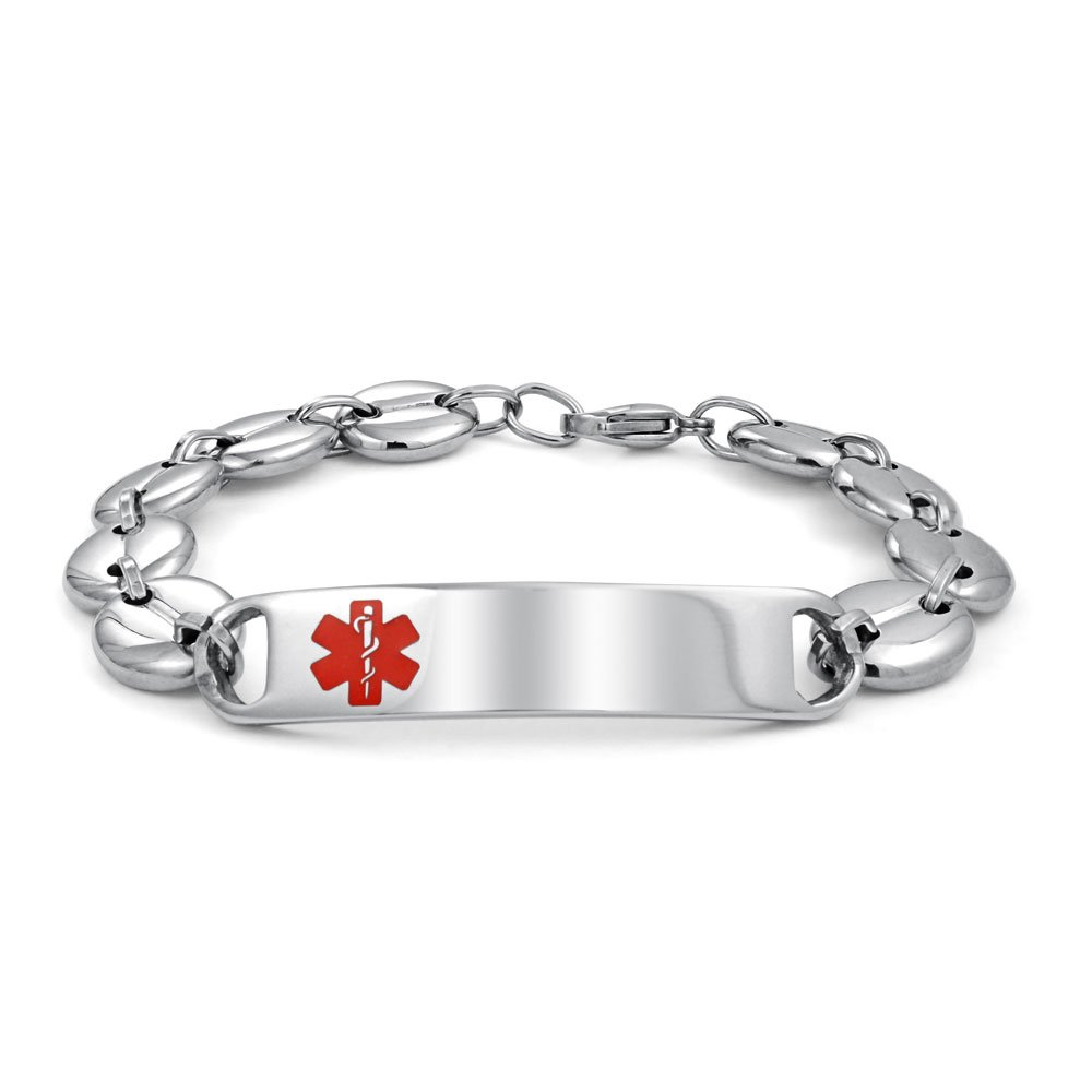 Steel Mariner Chain Medical Alert Red Enamel ID Tag Bracelet