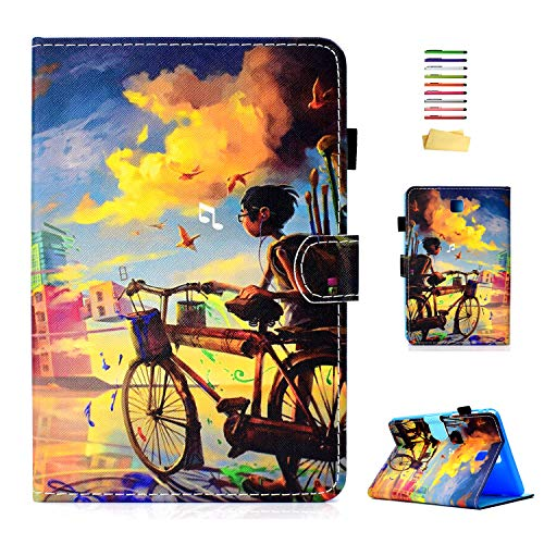 UUcovers Case for Samsung SM-T350/T355/P350/P355 Galaxy Tab A 8.0, Smart PU Leather Magnetic Folio Cover with Stand Pencil Card Holder [Auto Wake/Sleep] for Samsung Tab A 8.0 (2015), Dusk Bicycle Boy