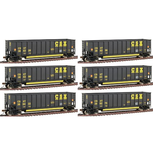 Walthers HO Scale Gold Line(TM) Bethgon Coalporter Gondola 6 - Pack Ready to Run - CSXT #3 (Black) ()