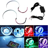 "iJDMTOY Bluetooth Wireless Remote Control 15-SMD RGB LED Demon Eye Halo Ring Kit For Headlight Projectors or 2.5"" 2.8"" 3.0"" Retrofit Projector Lens"