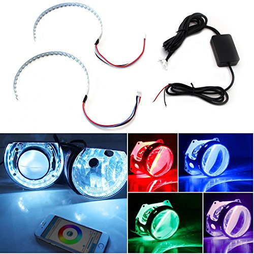 iJDMTOY Bluetooth Wireless Remote Control 15-SMD RGB LED Demon Eye Halo Ring (Eclipse Halo Euro Projector Headlights)