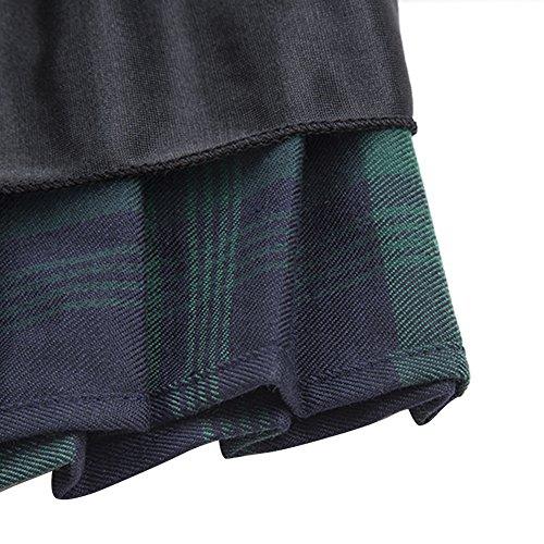 Urban GoCo Mujeres Falda Escocesa Plisada con Cintura Elástica Escuela Uniforme Falda Cuadros #1 Verde