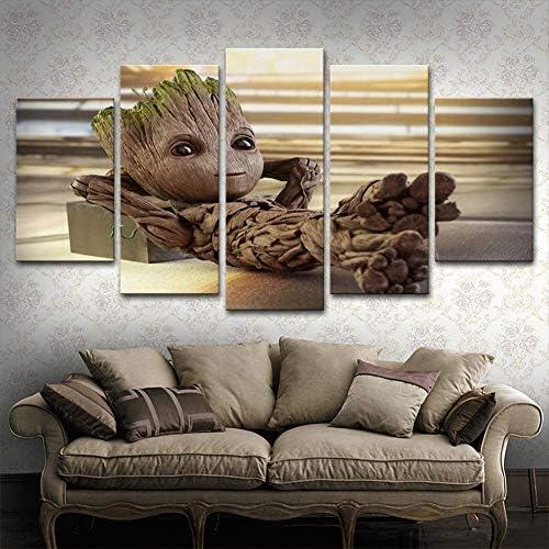 5 Panel HD Pintura Impresa Lienzo Modular Arte De Pared Baby Groot Prints Cartel Moderno Decoraci/ón para El Hogar