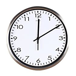 Airinou Luckly candy Best Wall Clock Quartz with Home,Office, Classroom Super Silent Wall Clocks Quiet Sweep Decorative Clocks Non Ticking (12Inch, Silver)