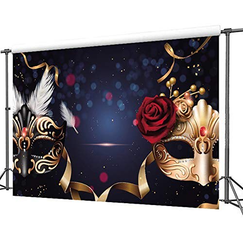 TMOTN 7x5ft Masquerade Backdrop Birthday Party Banner Thin Vinyl Photo Background Studio Props for Party Photography or Decoration D1876 ()