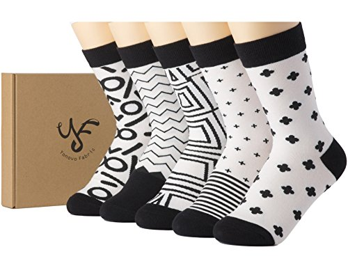 Yonovo Fabric Women's Patterned Cotton Socks (5 Pack in Gift Box) Shoe Size 4-9 (008) from Yonovo Fabric