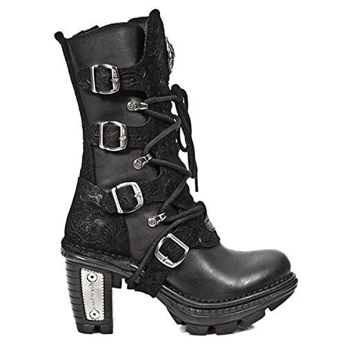 New Rock Donna M.NEOTR005-S2 Stivali in pelle con tacco in pizzo nero Goth