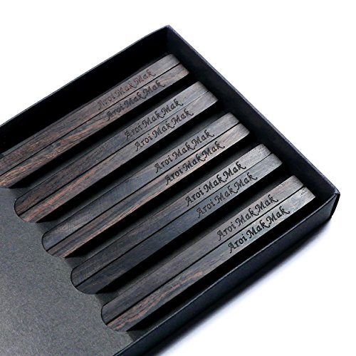 5 Pairs Natural Black Ebony African Blackwood Chopsticks With Custom Personalized Engraving - Matte Finish Without Varnish - Square Handles - in Chinese or Japanese Style - Box Set Gift Wrap Available - African Ebony Natural