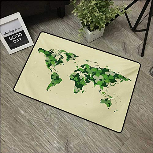 Floral World Map,Entry Rug Saint Patrick Day Motif with Retro World Map Clover Leaf W 16