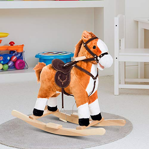 Festnight Kids Rocking Horse Plush Toy Ride on with Realistic Sounds Moving Mouth & Tail Brown
