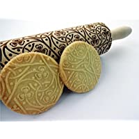 Rolling pin CLOVER KNOT. Wooden embossing rolling pin with Oriental flowers. Embossed cookies. Pottery. Birthday gift. Gift for mother
