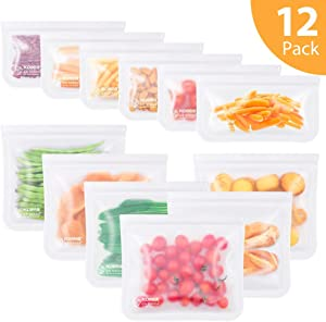 Reusable Snack Bags, Kollea 12 Pack Ziplock Storage Bags (6 Reusable Sandwich Bags & 6 Reusable Snack Bags), Extra Thick Freezer Bags Leakproof Food Silicone Reusable Storage Bags (12 Pack White))