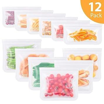 Kollea Bolsas de Silicona Reutilizables 12 Pack, Bolsas de conservación, Bolsas de Silicona Preservación de Alimento Hermética para Fruta Verduras ...
