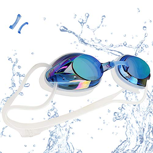 VETOKY Swim Goggles, Anti Fog Swimming Goggles UV Protection Mirrored & Clear No Leaking Triathlon Equipment for Adult and Children Over 8 Years Old ()