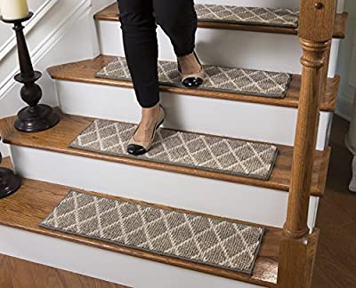 "Jardin Traditional Wool Inspired Carpet Stair Tread with Adhesive Padding - 9"" Deep, by Tread Comfort"