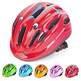 Cheap Kids/Teenager Roller Skating Bicycle Helmet Family Cycling Safety Breathable Bike Helmet Adjustable Children Safety Protection for Girls And Boys(Cartoon Red)