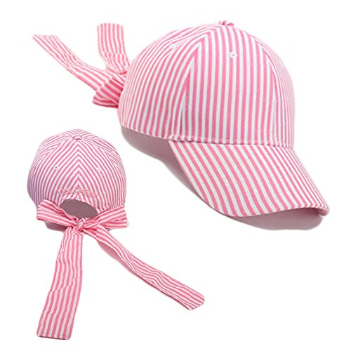 FuzzyGreen Bowtie Baseball Cap, Trendy Stripe Casual Summer Sun Hat for Teenager Girl Boy Youth Couple Lovers Students (Pink) by FuzzyGreen