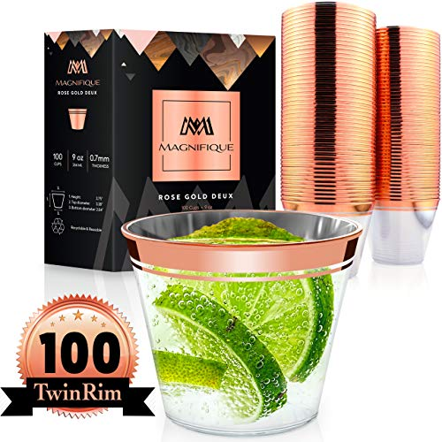 100 Premium TwinRim Rose Gold Cups | Heavier 9 oz | Perfect as Wedding Cups Disposable Wine Glasses Rimmed Rose Gold Plastic Cups Fancy Clear Rose Gold Party Decorations Cocktail Tumbler Silverware ()
