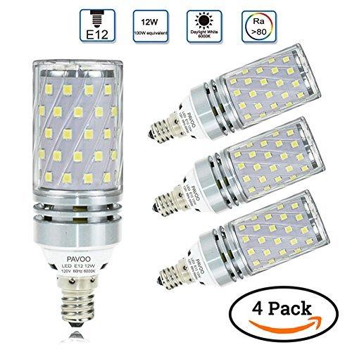pavoo E12bombillas LED, bombillas de candelabro LED de 12W equivalente a 100W, 1200LM, 6000K, luz color blanco...